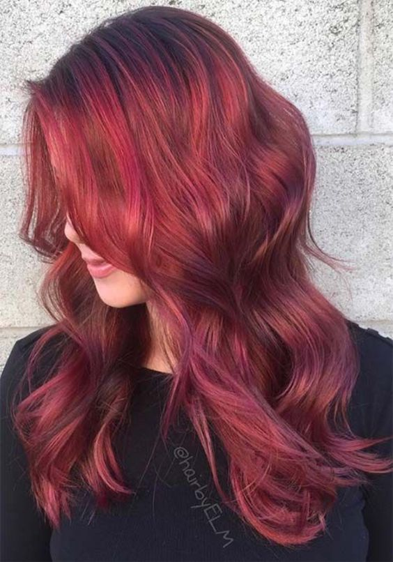 13 lovely Rosy Red Hair Color with Blonde Only For You (22)