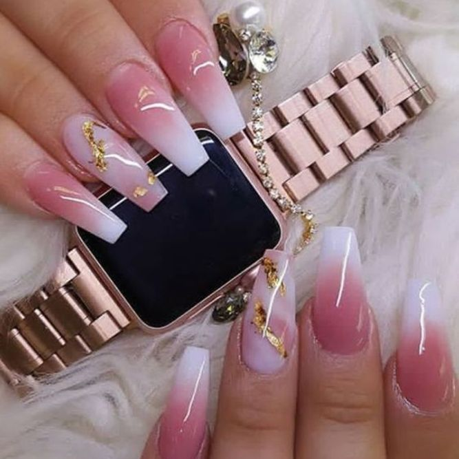 30 Summer Coffin Nail Designs with Gel for Beautiful Fingers