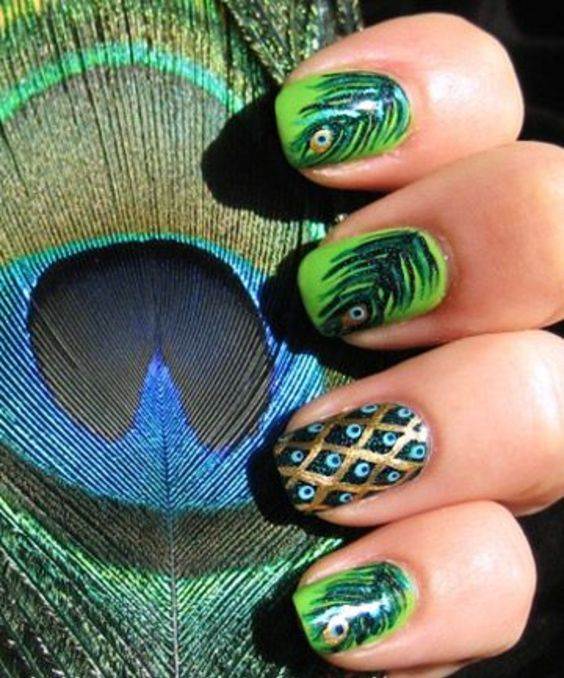 25 Awesome Feather Nail Art Peacock Design for 2020: Check them out! 2021