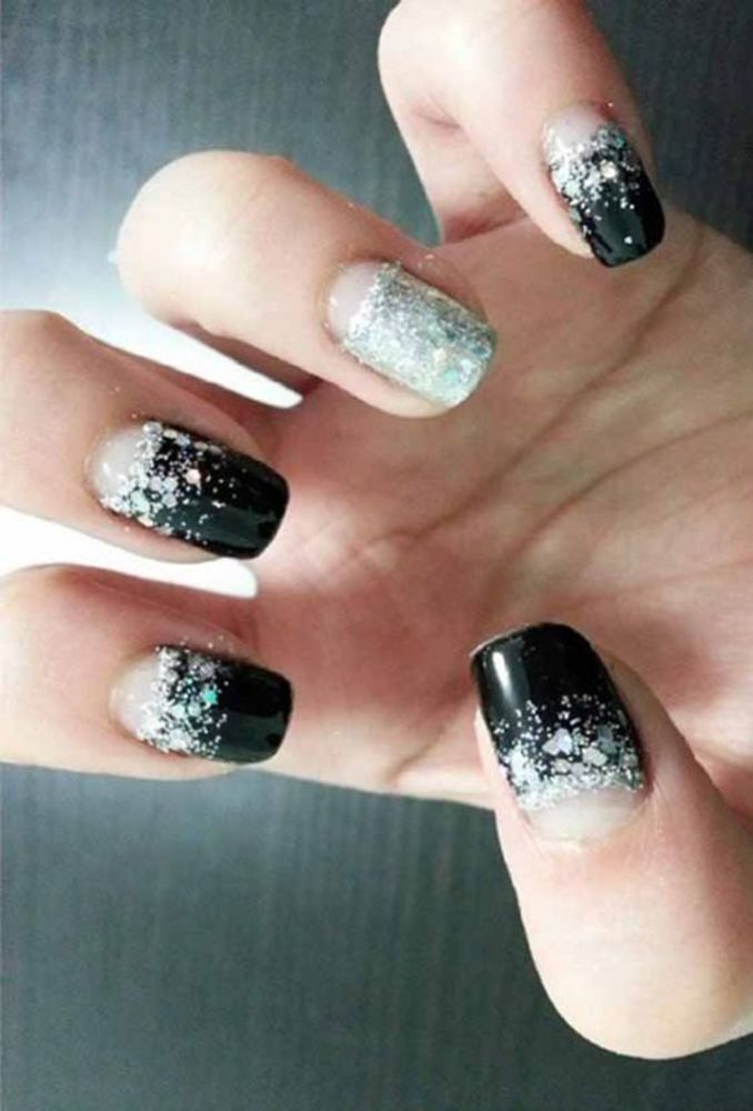25 Amazing Black Nail Designs With Glitter Silver : Check them out!
